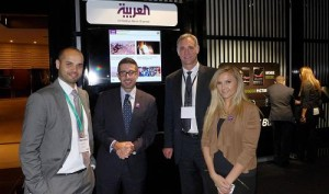 Faisal Abbas (second from left) with Blackberry's Rami Alzoubi & Eric Johnson, and journalist Stephanie Farah at the launch.