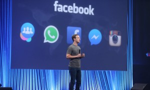 Mark Zuckerberg speaking at the F8 conference