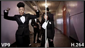 YouTube comparing the image quality of a Janelle Monaé video in VP9 or legacy H.264 transcodes.