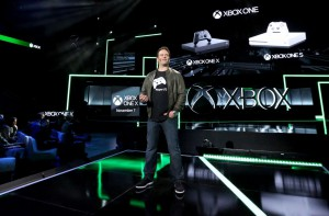 Phil Spencer, head of Xbox, unveils the Xbox One X at E3 in Los Angeles.