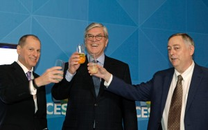 Gary Shapiro of the CTA, Gordon Smith of the NAB, and SCTE President Mark Richer celebrate the approval of the ATSC 3.0