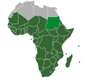Sub-Sahara Africa. Sudan, in light green, is also classified as North Africa.