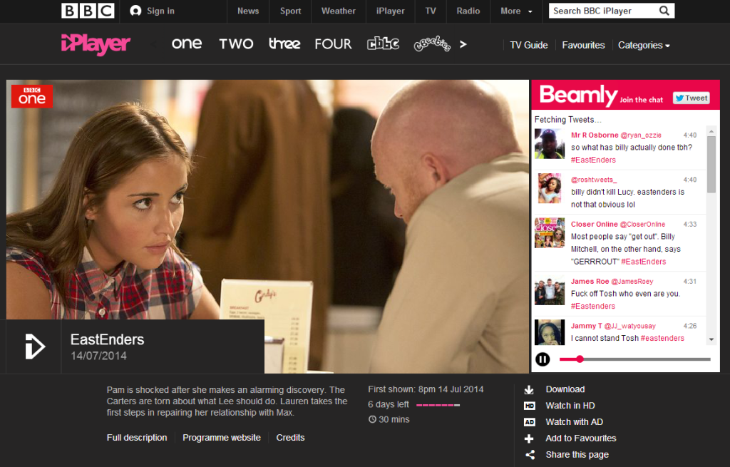Beamly adds social layer to iPlayer, ITV Player and 4oD – Digital TV
