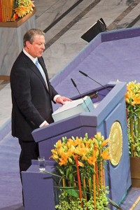 Al Gore receiving the Nobel Peace Prize in 2007