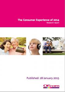 Ofcom Consumer Experience report 2014