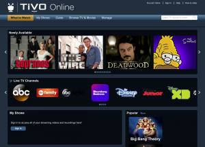 TiVo online screenshot