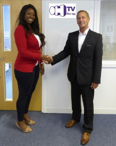 OH TV sales & acquisitions Manager Esther Alade with PlayBox business development manager Alan Bunting
