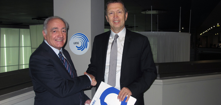 George Guelzec, UEG President and Ingolfur Hannesson, EBU Head of Indoor Sports