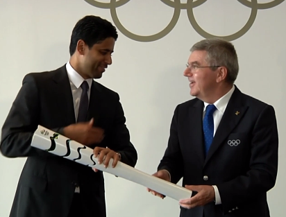 Nasser Al-Khelaifi and Thomas Bach