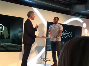 David Bouchier and event host Andi Peters at Virgin Media's V6 launch