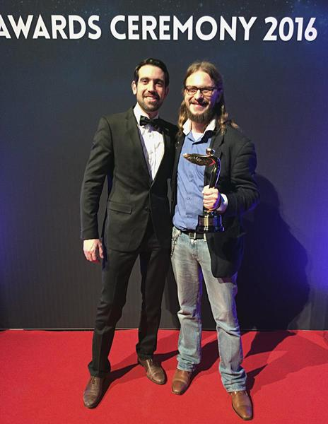 VCG Founders Chanalet-Quercy and Kirchhof at December's Lumiere Awards in Liege, Belgium
