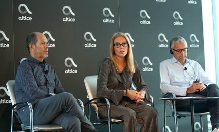 Cláudia Goya on stage at Altice's Lisbon event