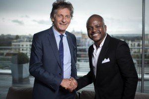 M6 chairman Nicolas De Tavernost and Voodoo Group CEO Fabrice Sawegnon