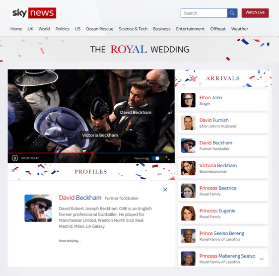 World first for Sky News royal wedding coverage
