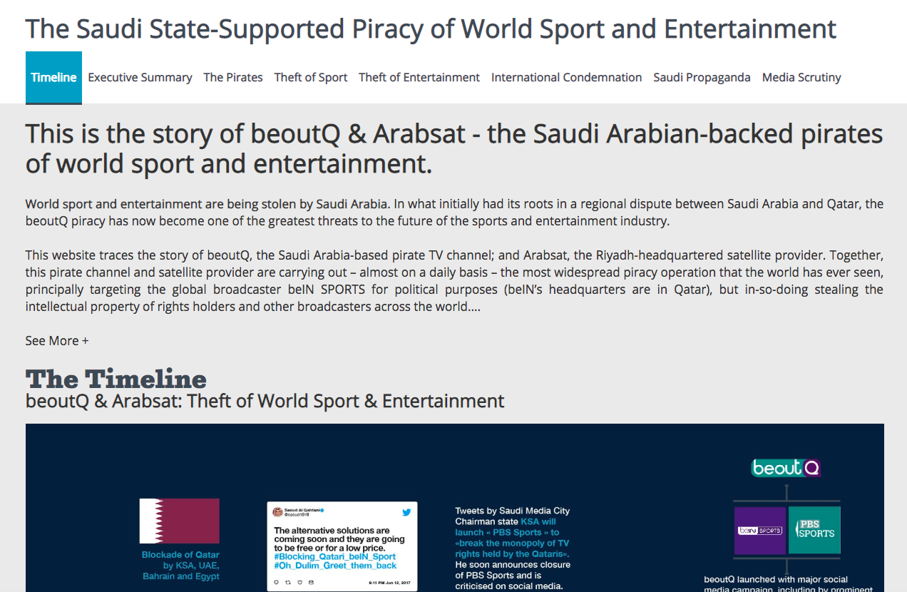 BeIN ups campaign against BeoutQ's 'Saudi-supported plague of piracy